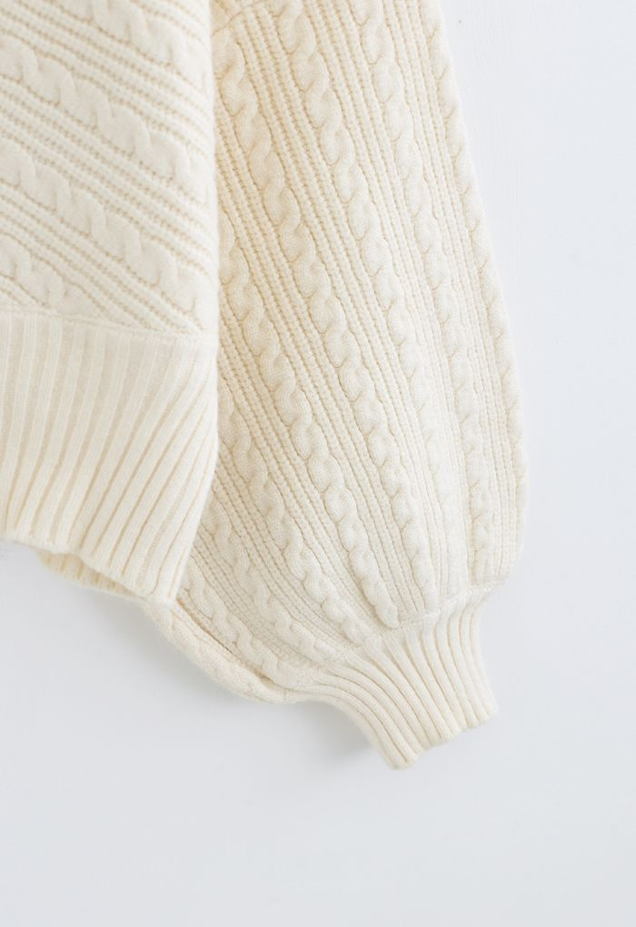 Batwing Sleeves Braid Knit Sweater in Cream