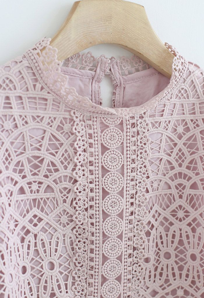 Panelled Full Crochet Sleeves Top in Pink