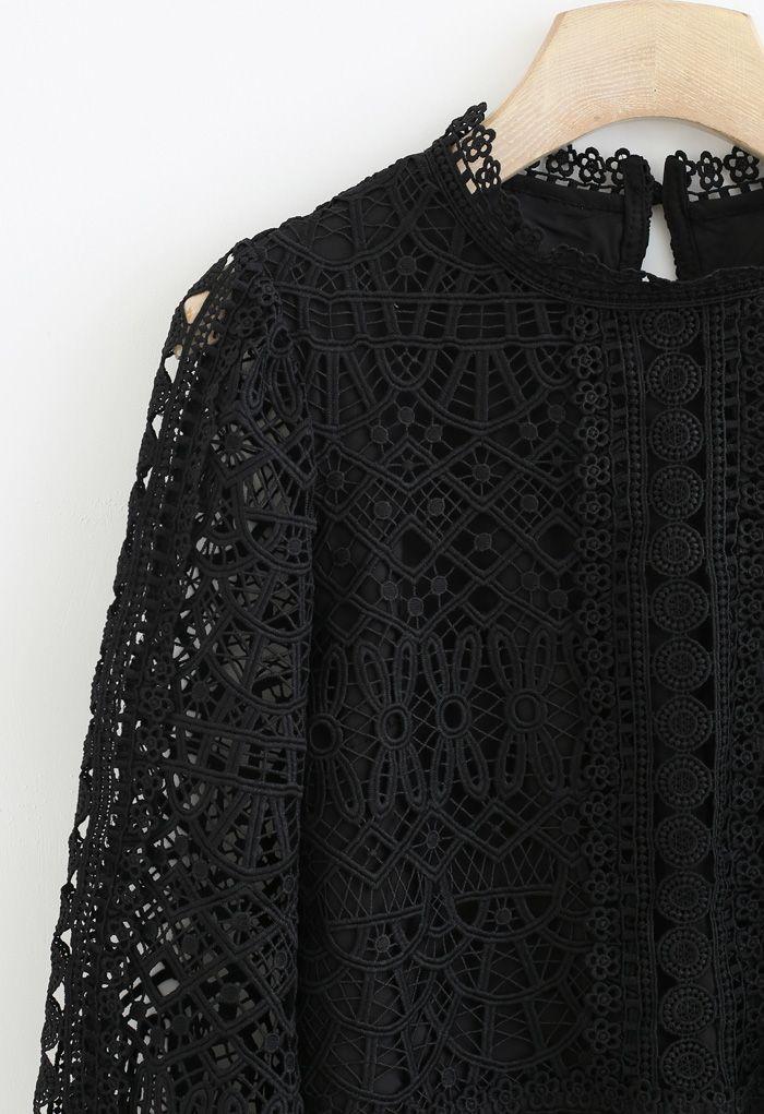 Panelled Full Crochet Sleeves Top in Black