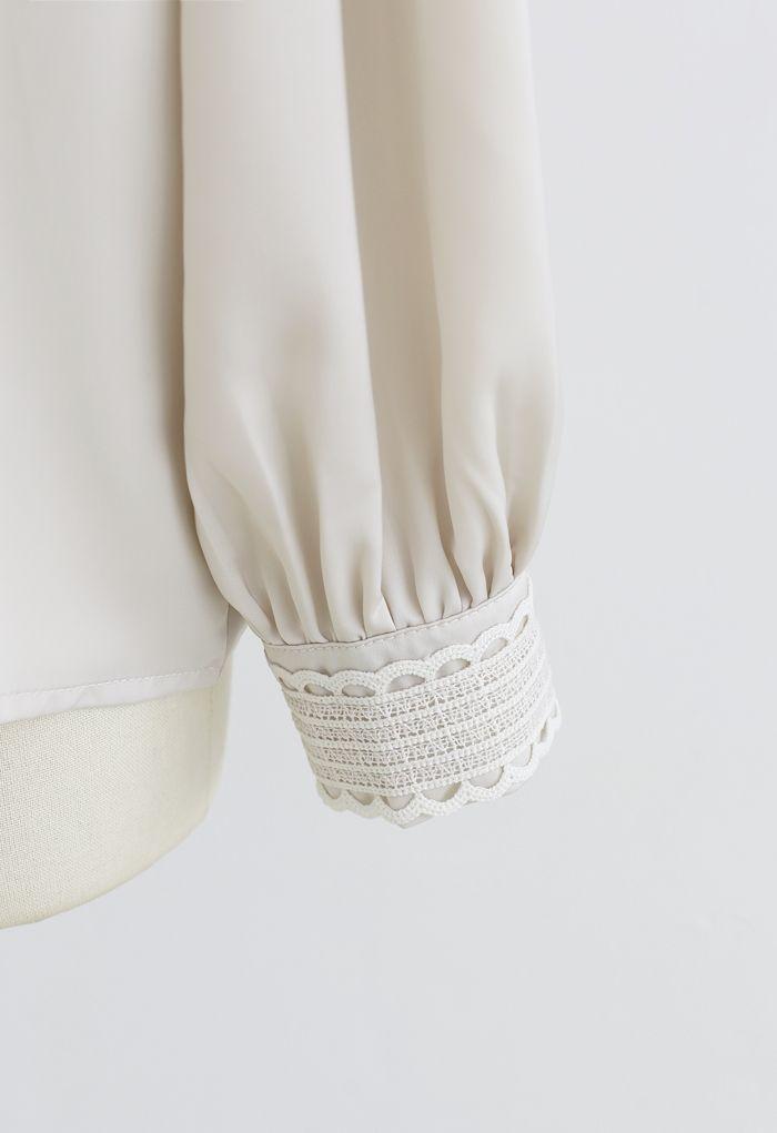 Satin Pearl Crochet Mock Neck Top in Cream