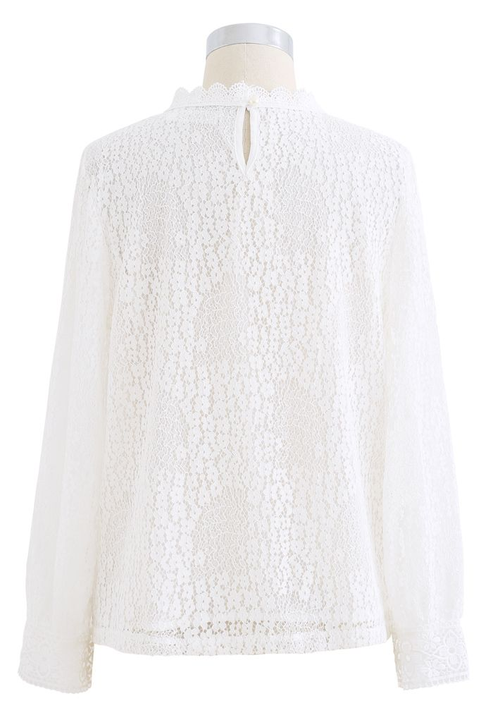 Floret Full Lace Long Sleeves Top in White