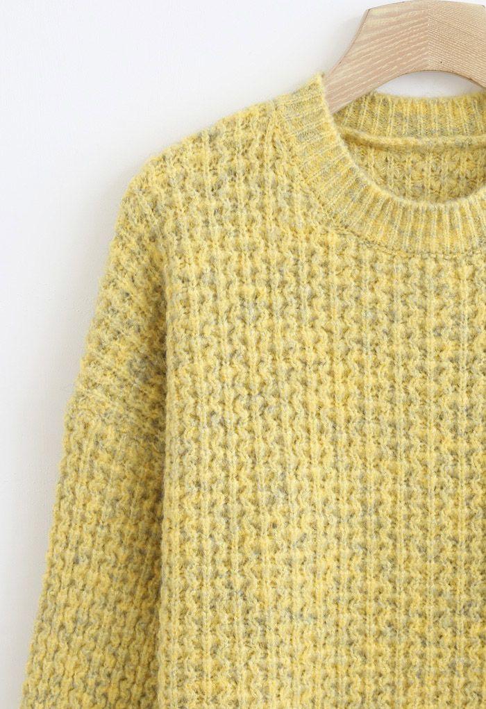 Fluffy Waffle-Knit Sweater in Mustard