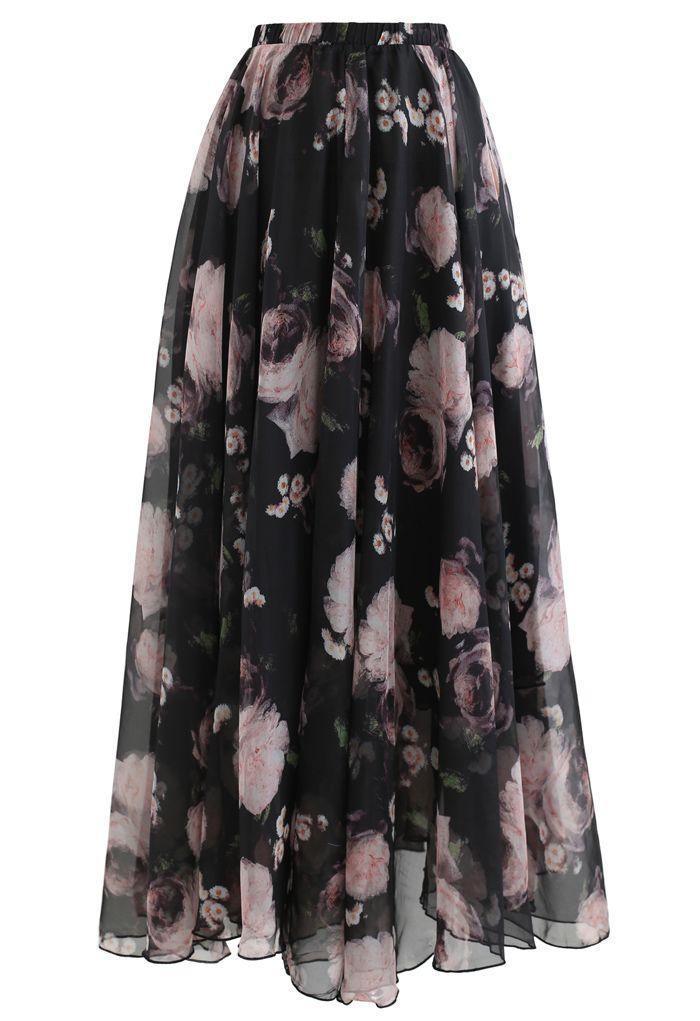 Pink Rose Watercolor Maxi Skirt