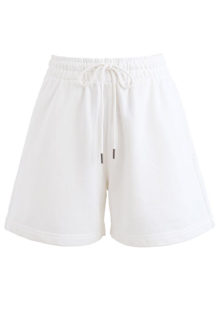 Round Neck Sweatshirt and Drawstring Shorts Set in White