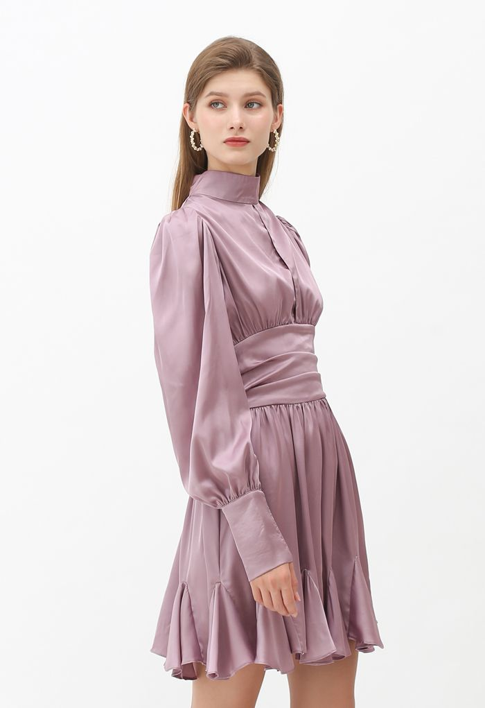 High Neck Puff Sleeves Satin Ruffle Dress in Lilac