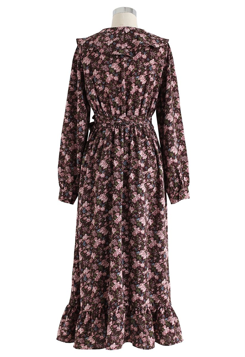 Floral Ruffle Bowknot Wrap Dress in Brown