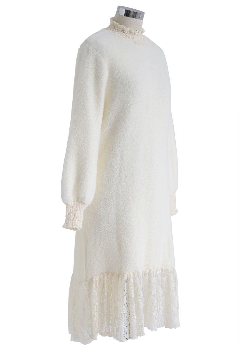 Lace Hem Fluffy Knit Shift Dress in Cream