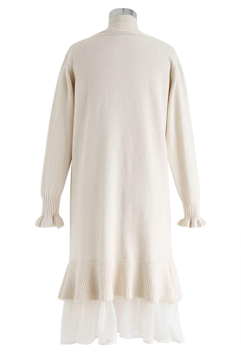 Organza Ruffle Hem Knit Shift Dress in Cream