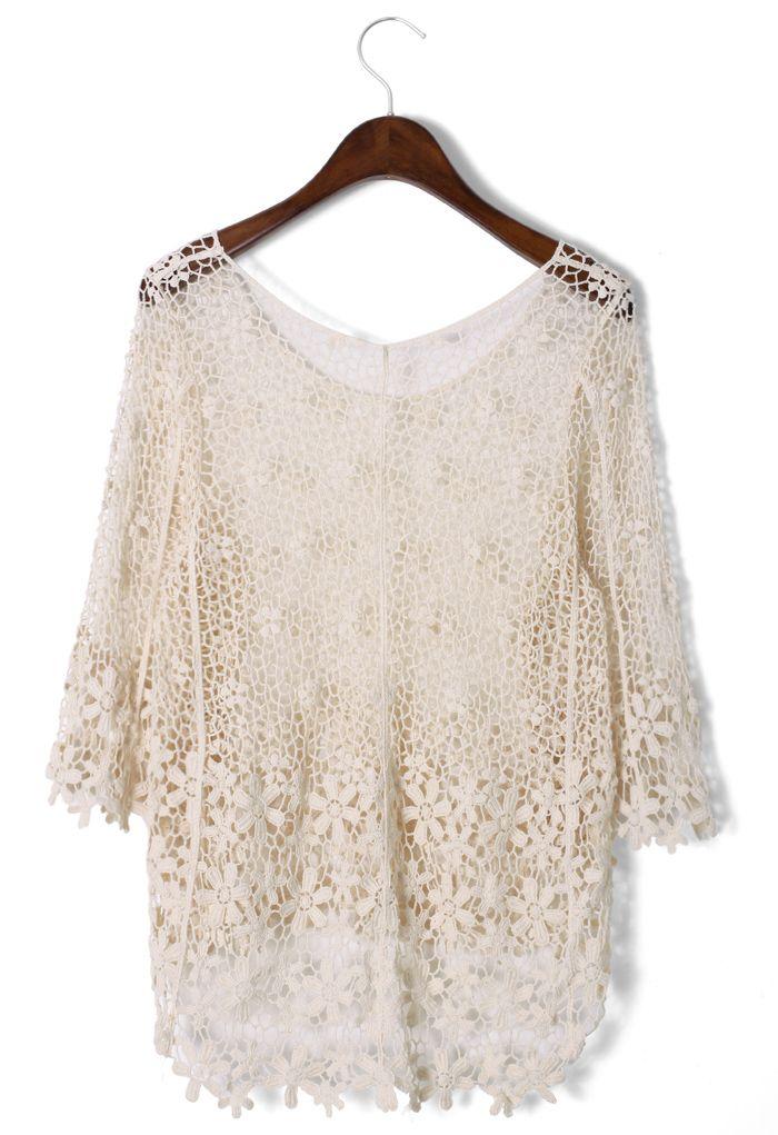 Crochet Mesh Mid-Sleeve Top
