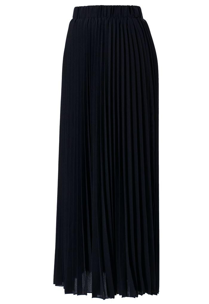 Chiffon Black Pleated Maxi Skirt