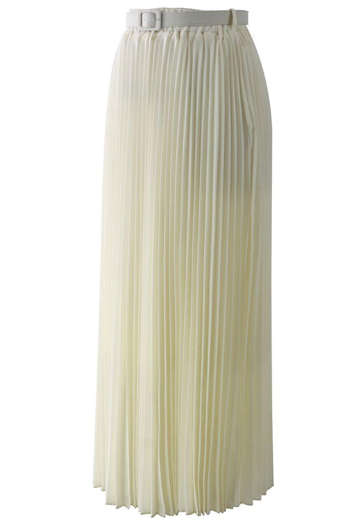 Chiffon Pleated Maxi Skirt in Cream