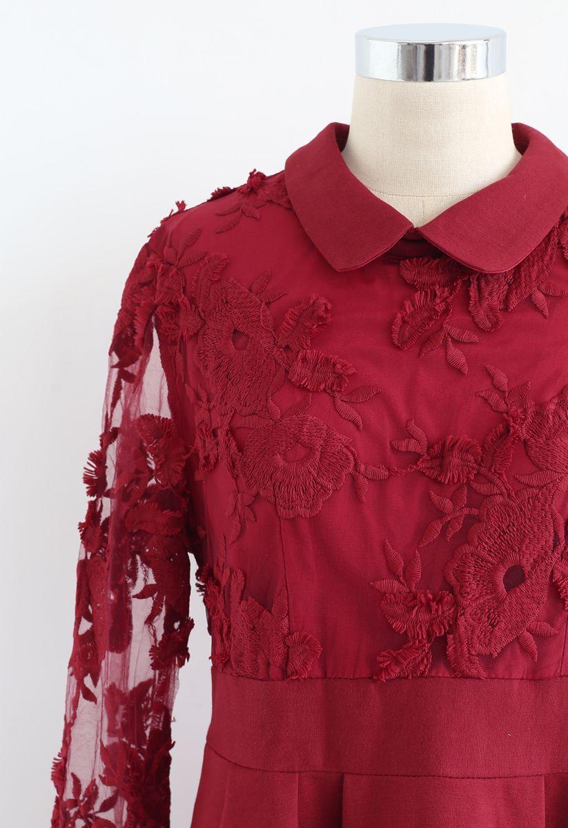 Vivid Flower Mesh Lace Skater Dress in Red