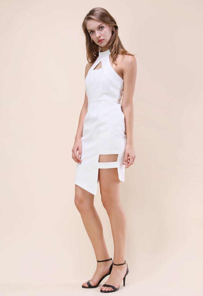 Modish Muse Halter Neck Dress in White