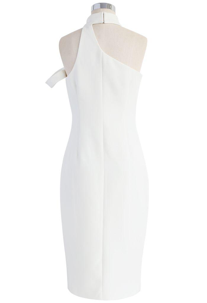 Extra Stylish Halter Neck Dress in White