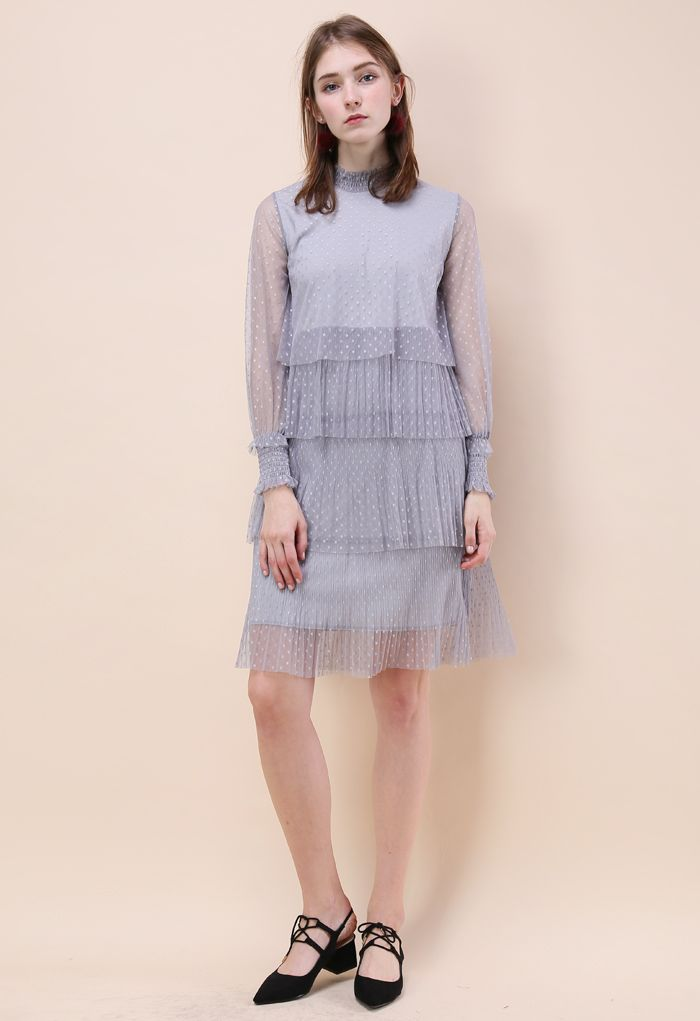 Luscious Polka Dots Mesh Tiered Dress in Grey