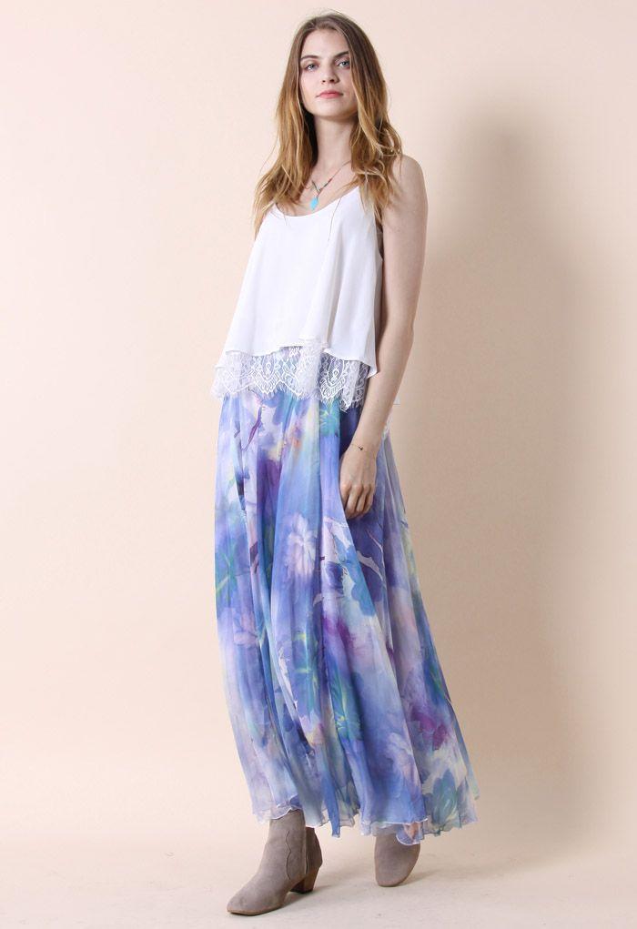 Dancing Watercolor Floral Maxi Skirt in Violet
