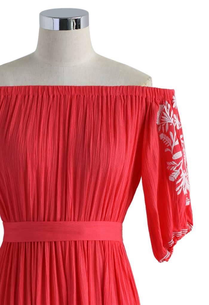 Boho Nymph Off-shoulder Maxi Dress in Coral