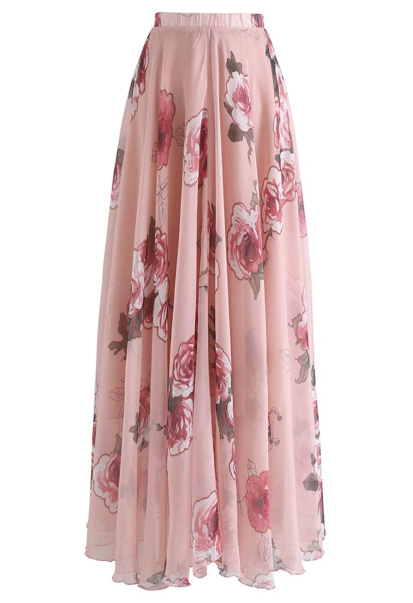 Pink Rose Panache Maxi Skirt