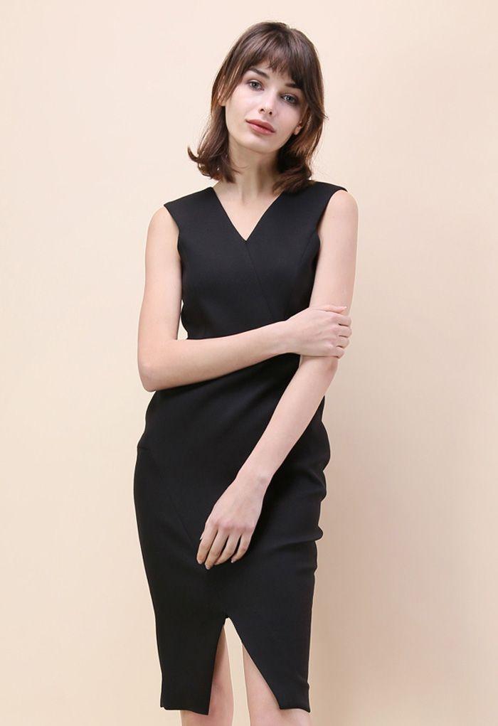 Elegance Never Sleeps Sleeveless Dress in Black