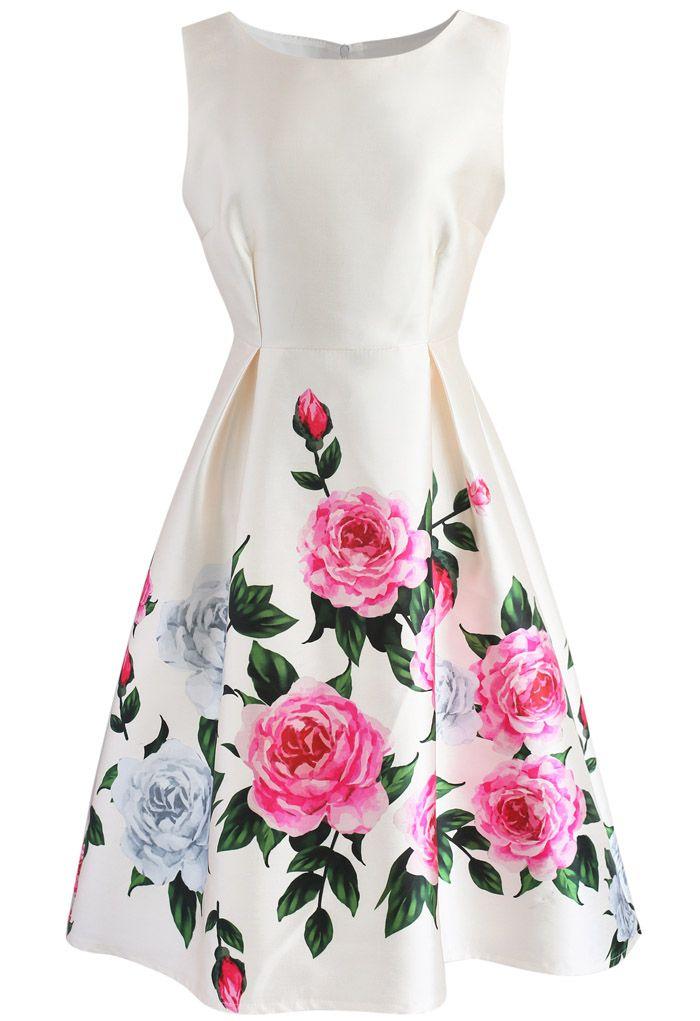 Retro Felicitous Peony Printed Dress