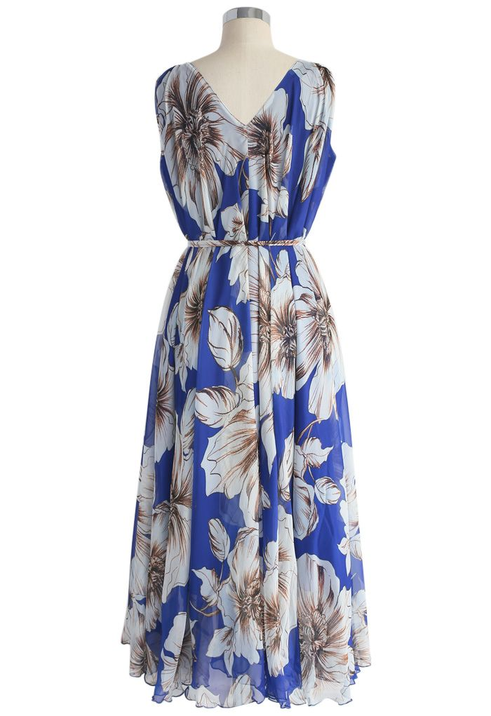 Marvelous Floral Chiffon Maxi Dress in Blue