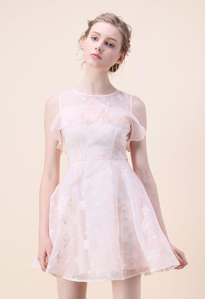 Ocean Cool Organza Cold-shoulder Dress