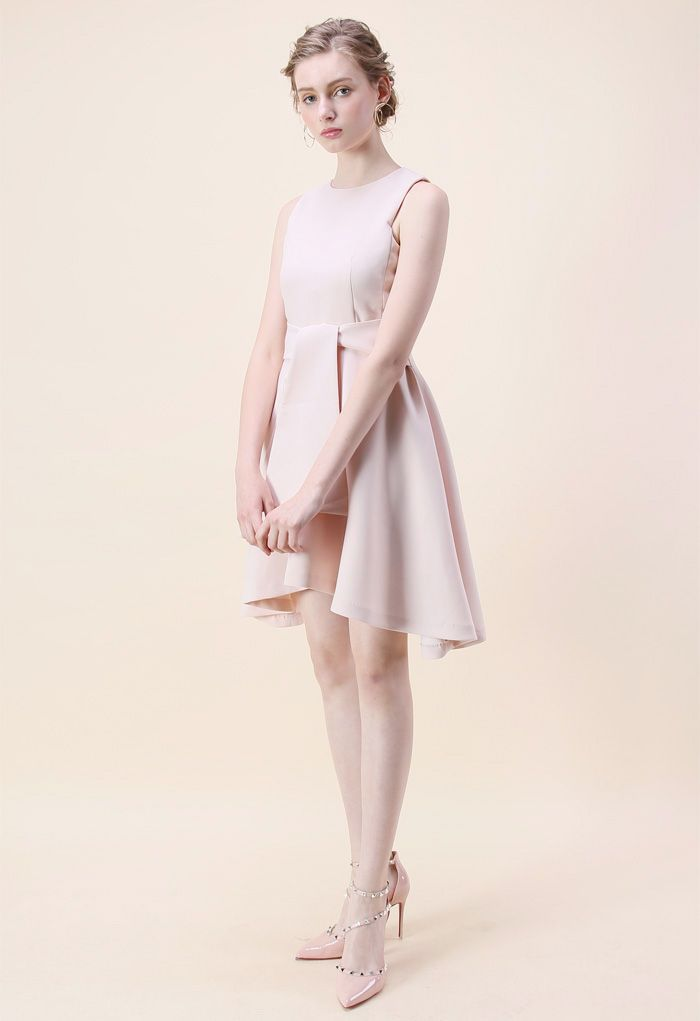 Tie with Daintiness Sleeveless Dress in Pink