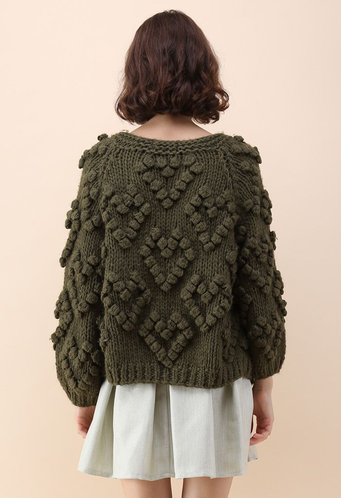 Knit Your Love Cardigan in Army Green