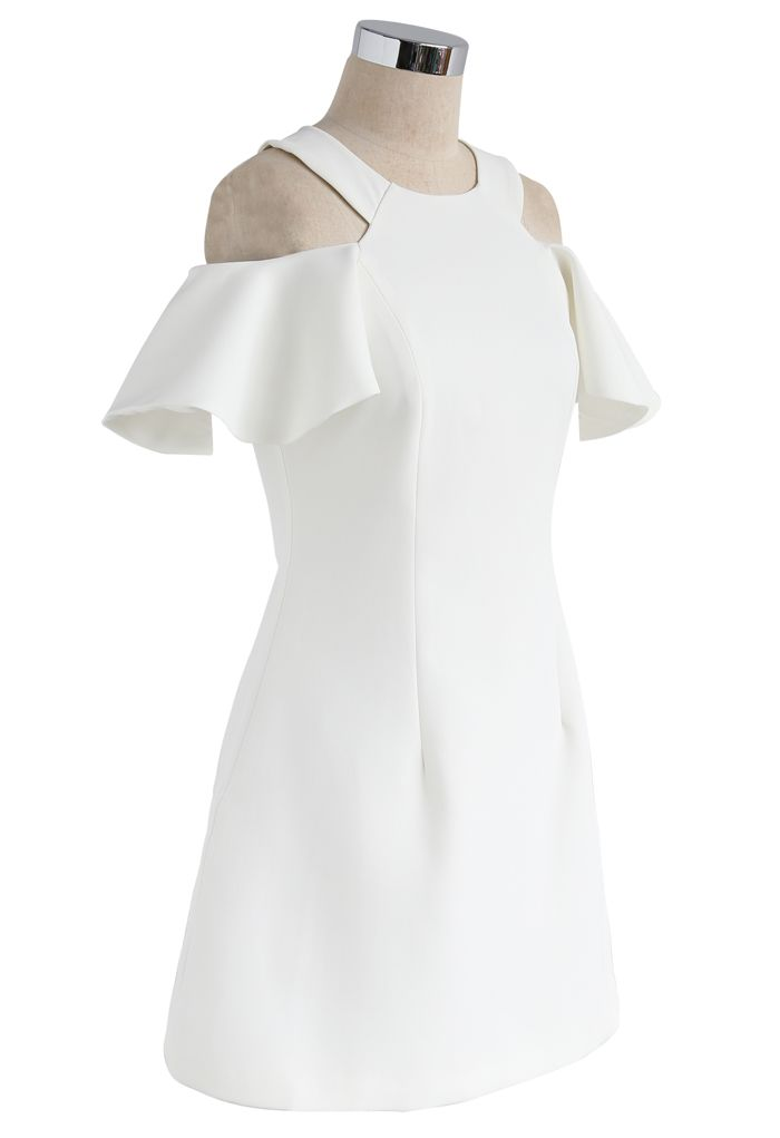 Twirling Into the Weekend Cold-Shoulder Dress in White
