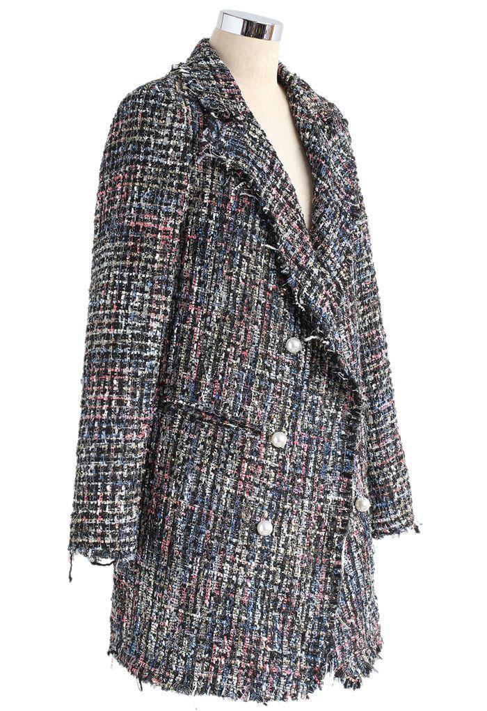 Flickering Attraction Double Breasted Tweed Coat