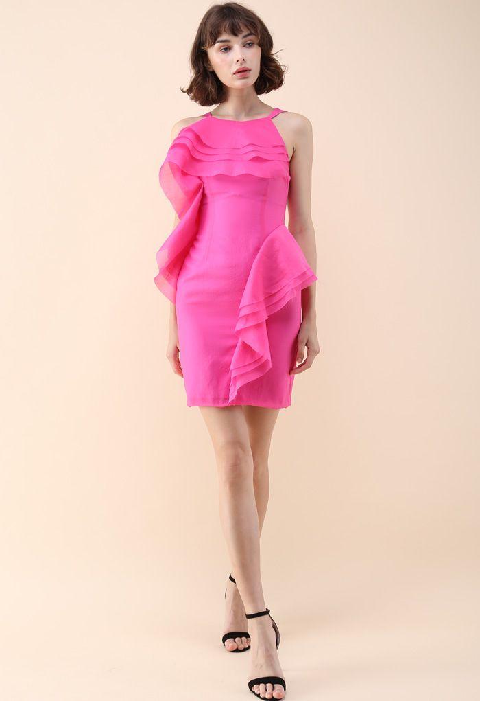 Stylish Winner Tiered Ruffle Sleeveless Dress in Hot Pink