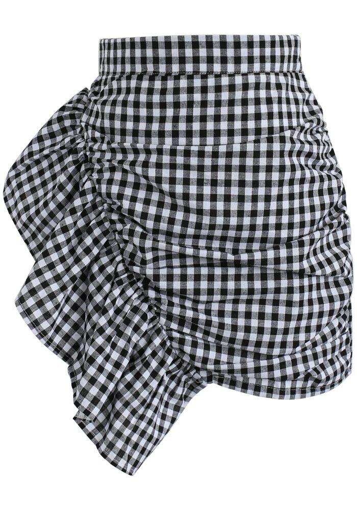 Nifty Slanted Ruffle Gingham Bud Skirt