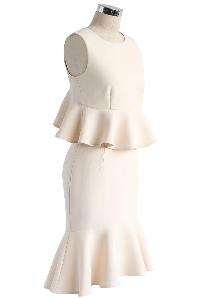 Frill Hem Sleeveless Cropped Top and Bud Skirt Set in Cream
