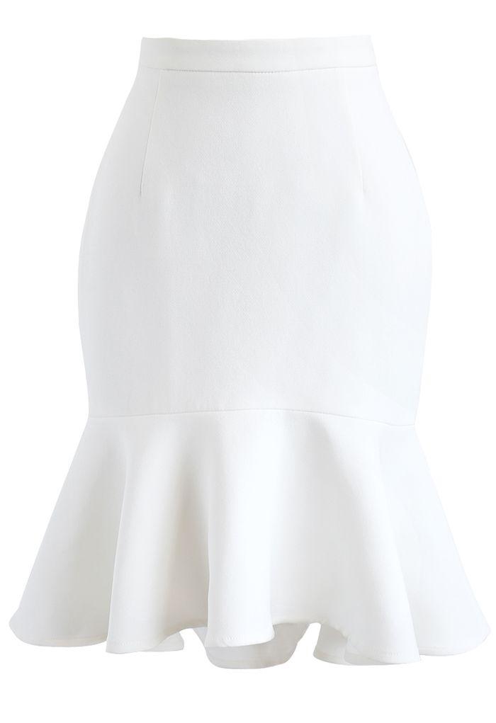 Frill Hem Sleeveless Cropped Top and Bud Skirt Set in White