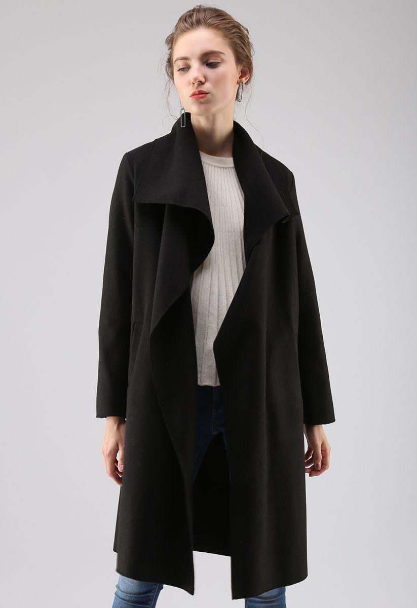 Free Myself Open Front Wool-Blend Coat in Black