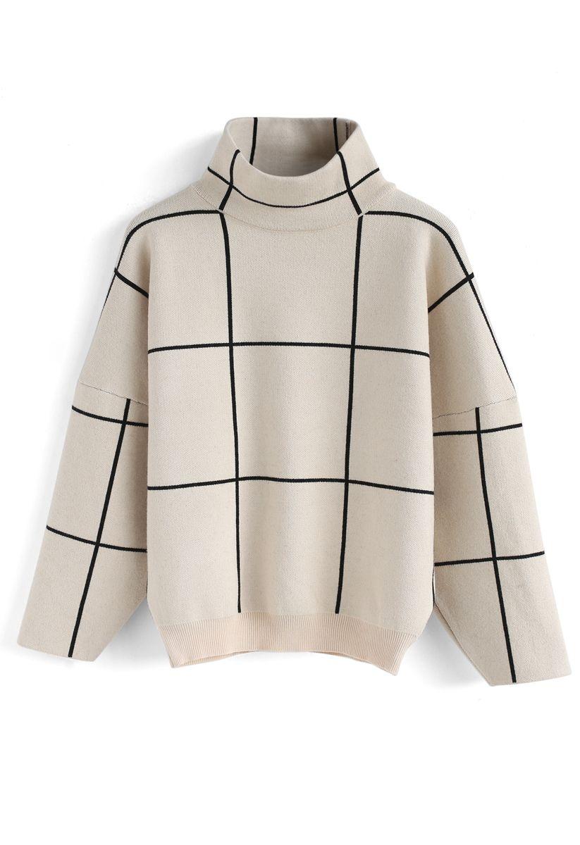 Grid Turtleneck Sweater