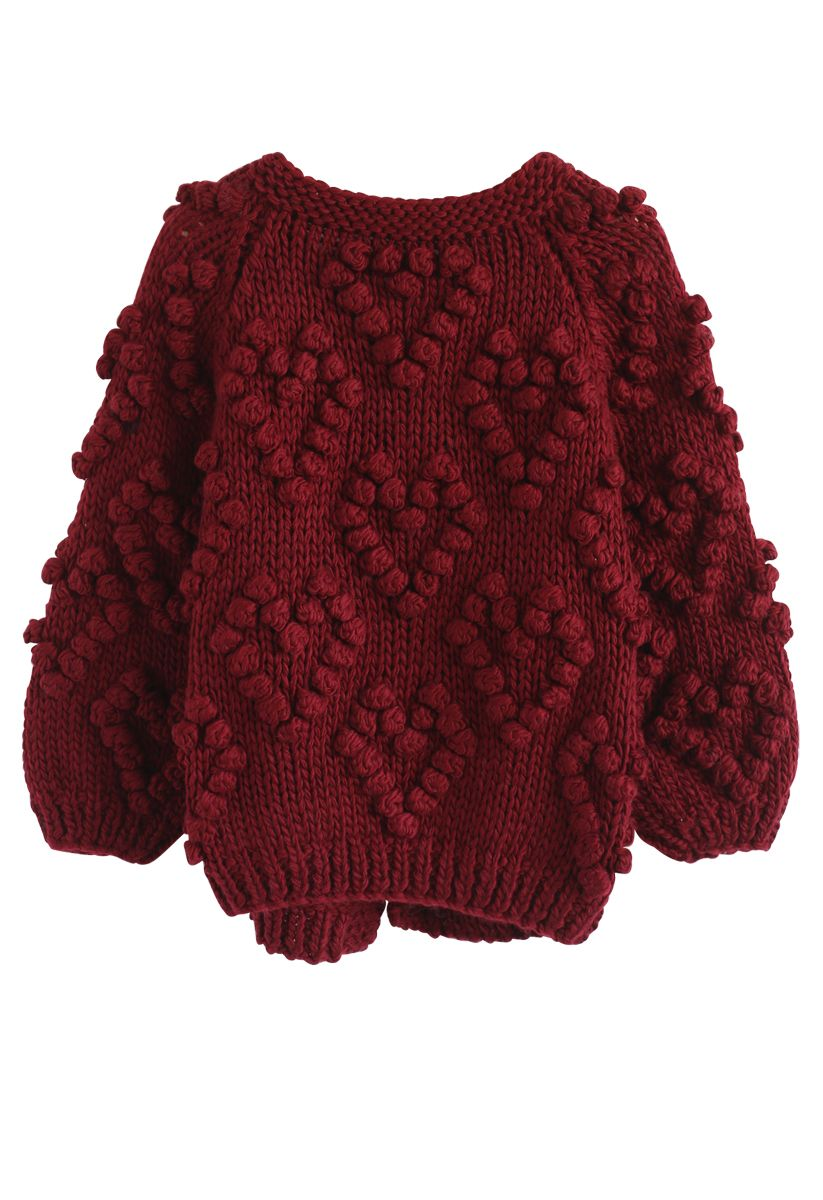 Knit Your Love Cardigan in Wine