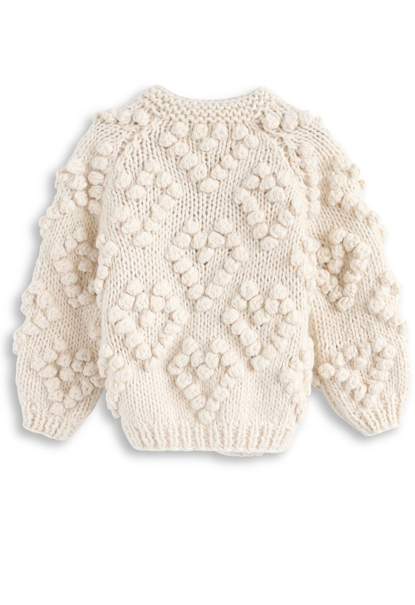 Knit Your Love Cardigan in Ivory For Kids