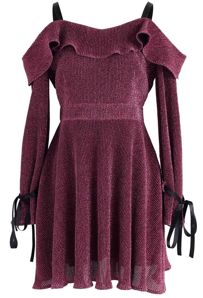 Glittering Night Cold-Shoulder Dress in Mauve