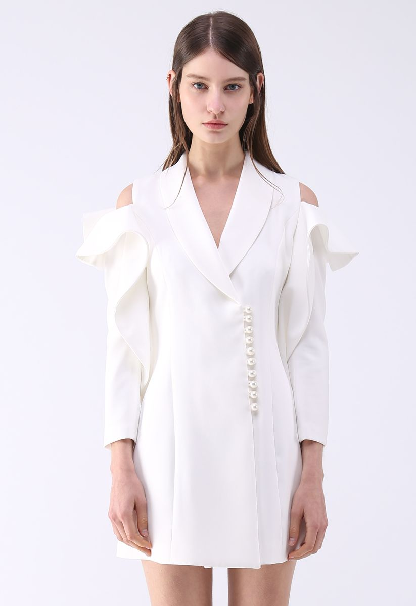 Shining Pearls V-Neck Cold-Shoulder Coat Dress in White