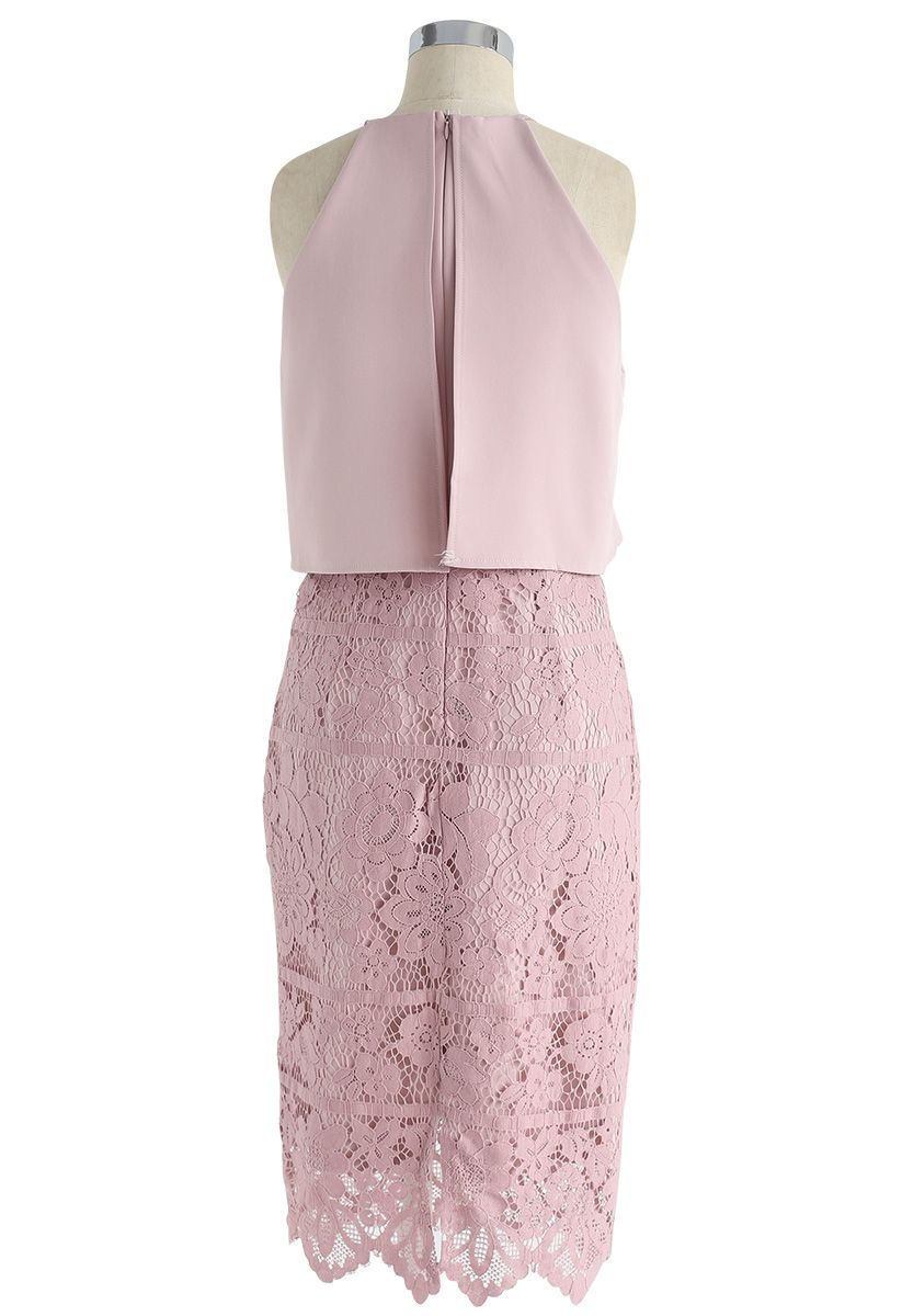 Faith in Glamour Lace Cami Dress in Pink