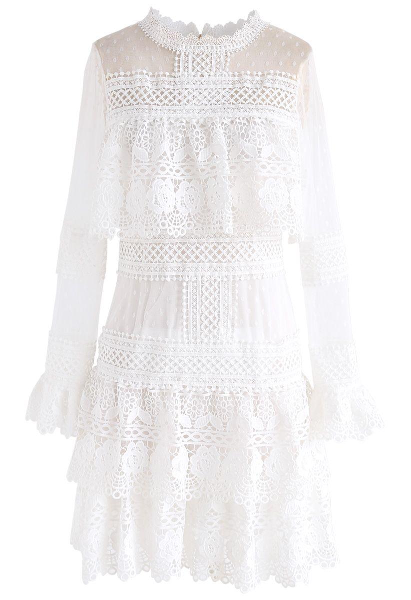 Sweet Destiny Tiered Crochet Mesh Dress in White