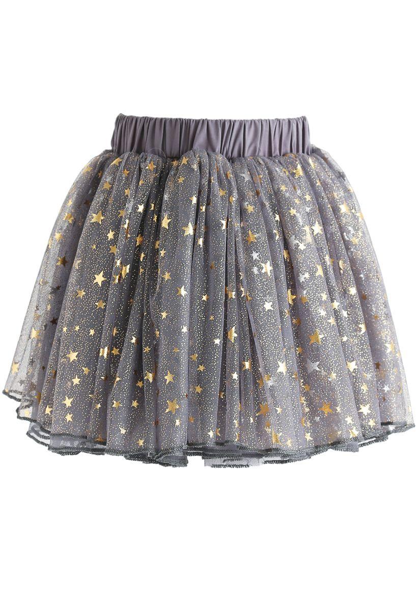 Twinkle Star Mesh Tulle Skirt in Grey For Kids