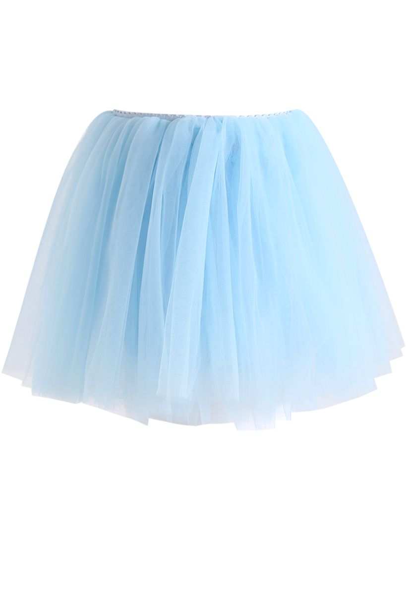 Amore Mesh Tulle Skirt in Baby Blue For Kids