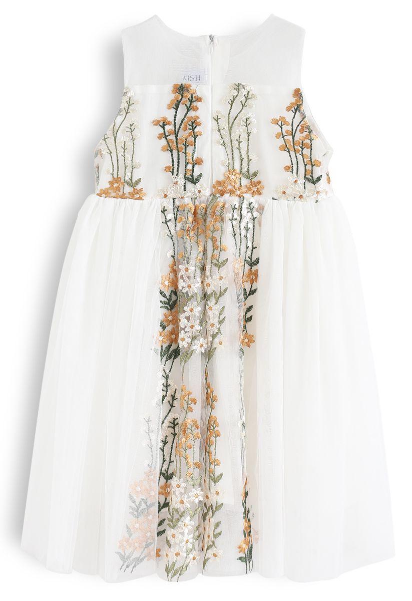 Little Darling Sleeveless Embroidered Mesh Dress in Cream For Kids