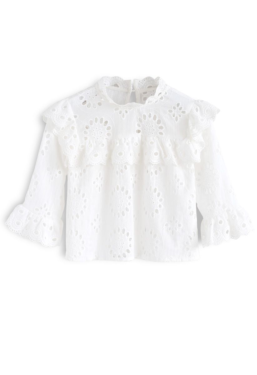 Find My Youth Eyelet Embroidered Top in White For Kids