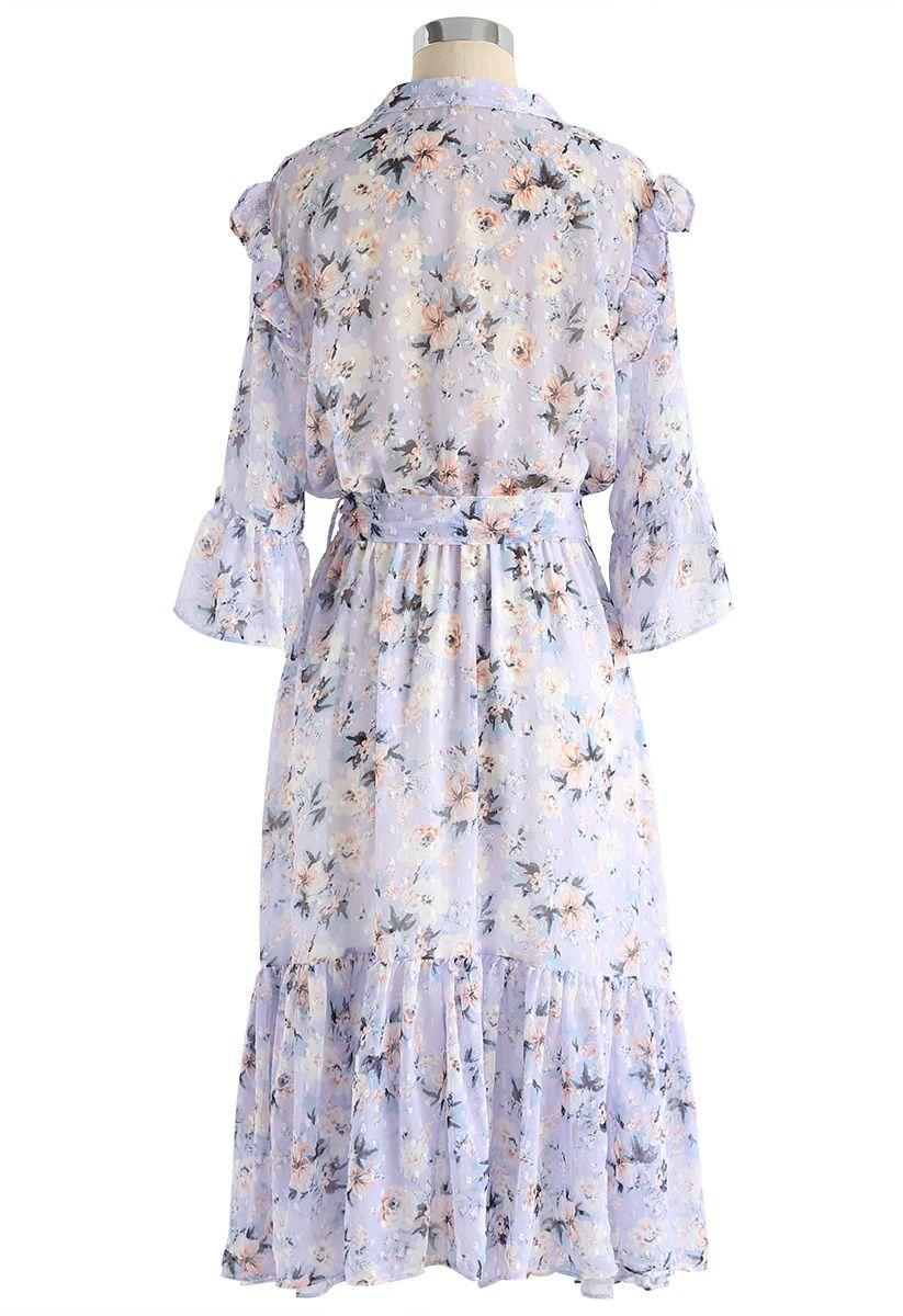 By My Side Floral Asymmetric Ruffle Chiffon Dress in Lilac