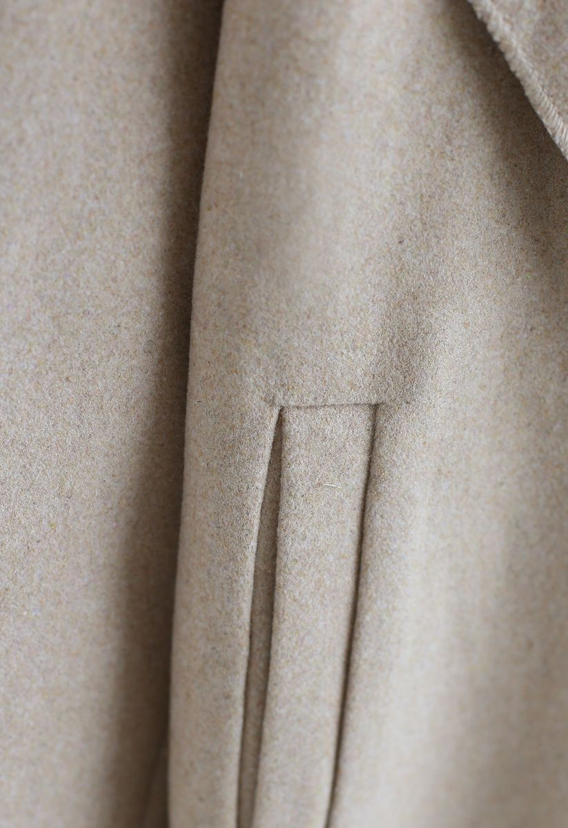 Free Myself Open Front Wool-Blend Coat in Sand