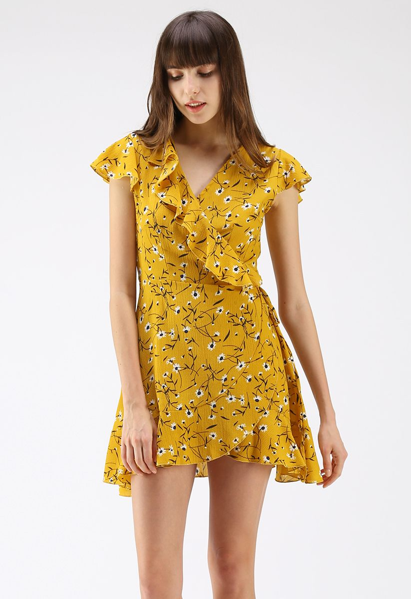 Daisies Breezy Wrapped Ruffle Dress