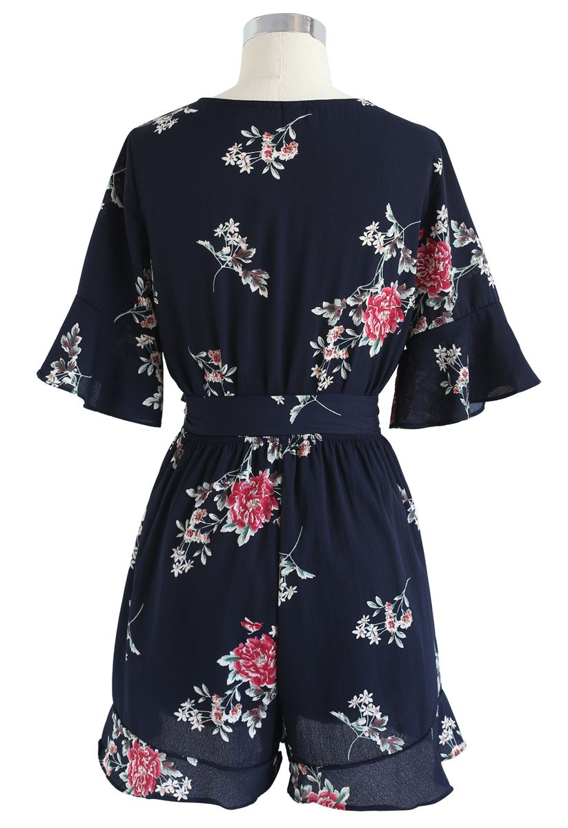 Dwell in Floral Dream Wrapped Playsuit in Navy